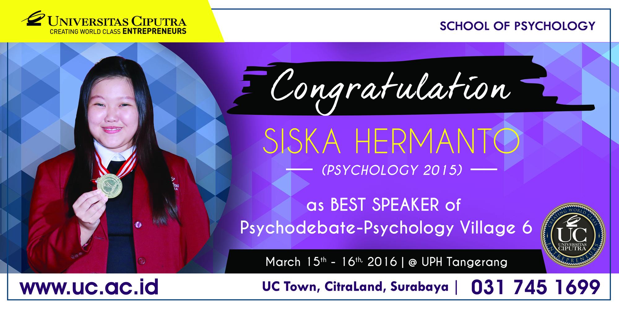 Siska as Best Speaker Psychodebate