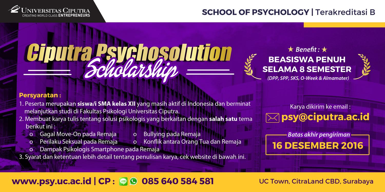 Ciputra Psychosolution Scholarship