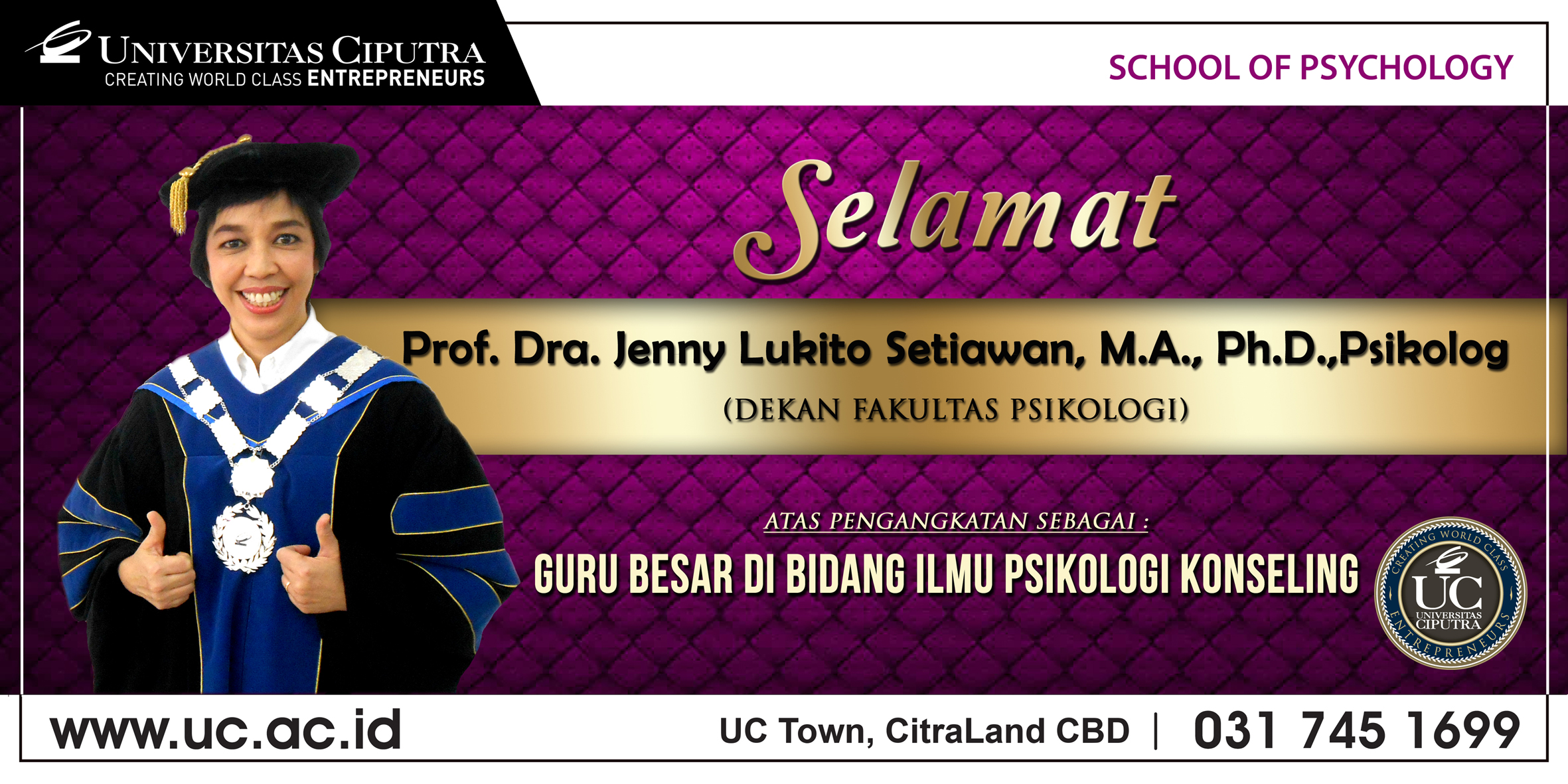 Pengukuhan Guru Besar Prof. Jenny Lukito Setiawan