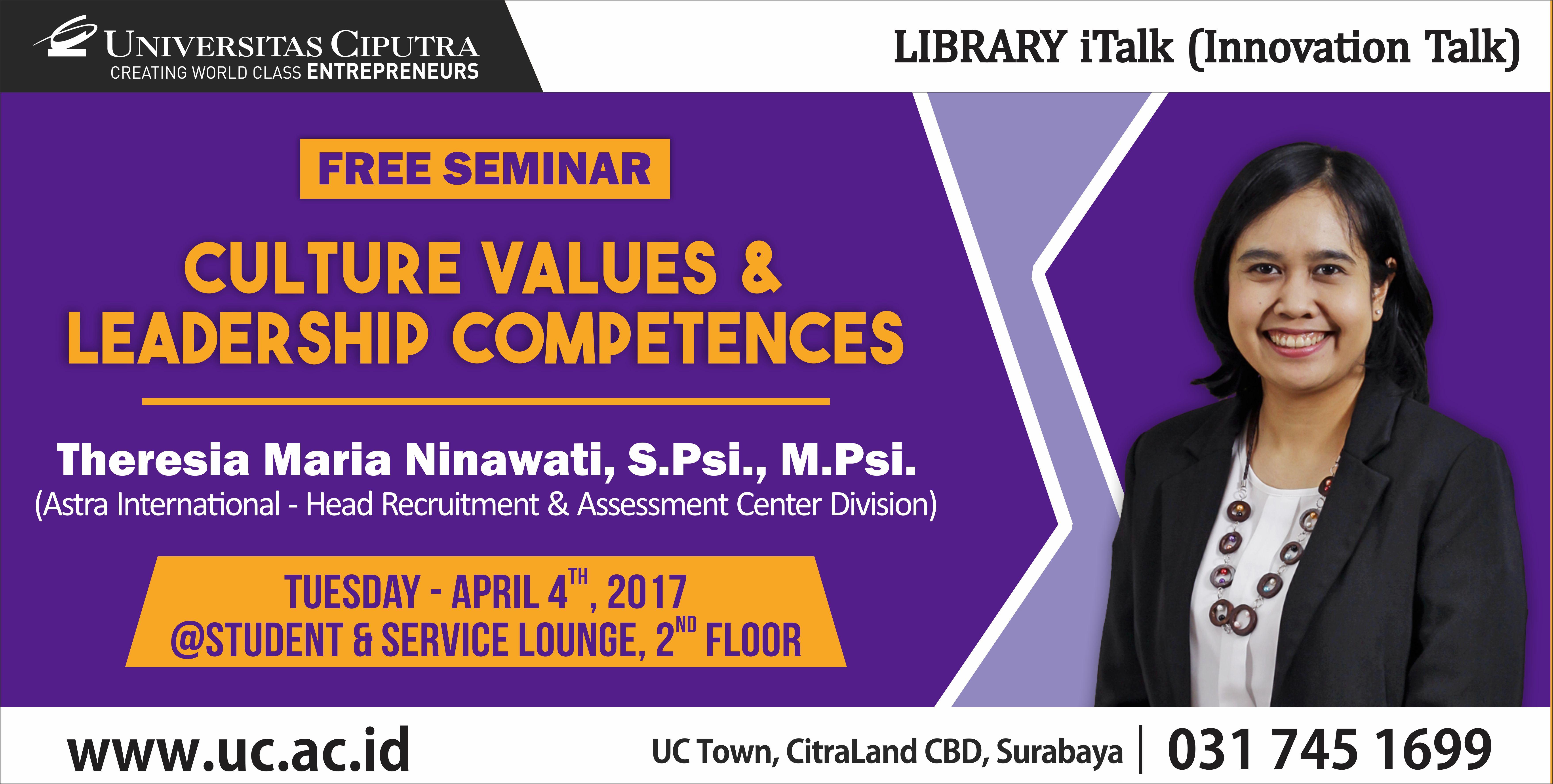 Seminar Culture Values & Leadership Competences