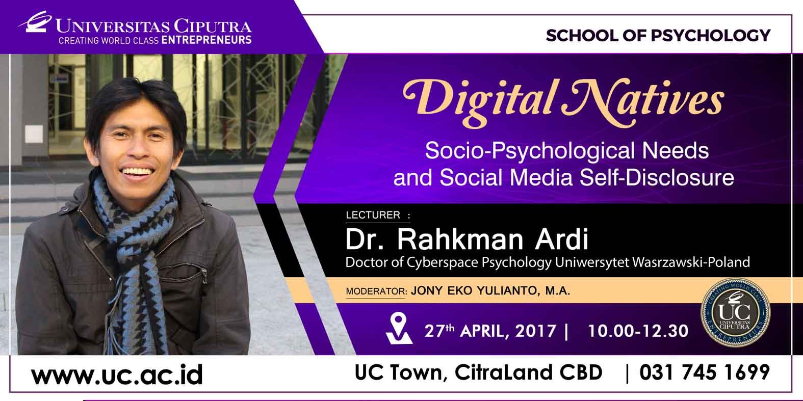 """Kuliah Tamu Social Psychology """"Socio-Psychological Needs and Social Media Disclosure"""