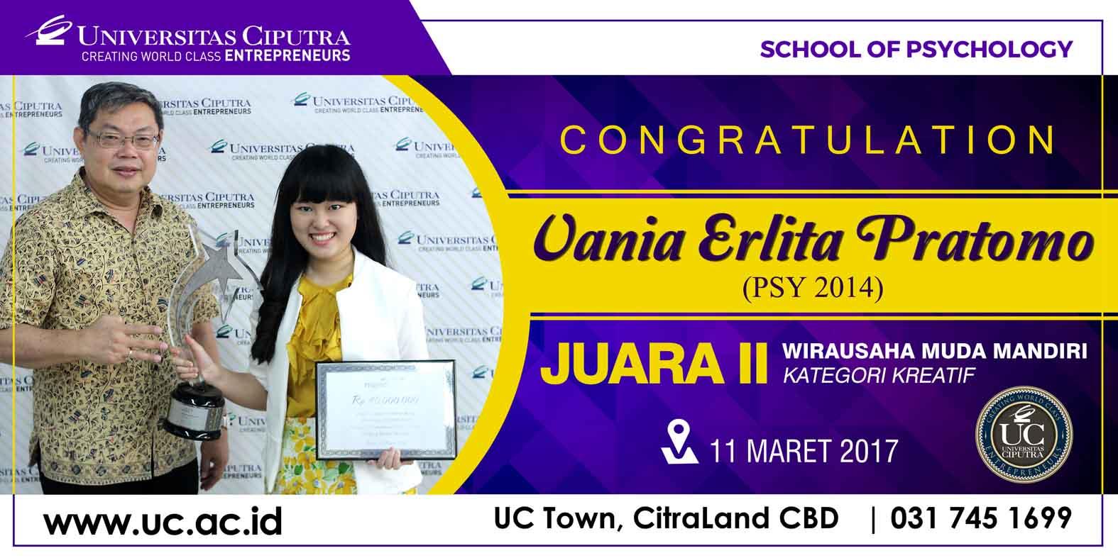 Vania Erlita Juara II Wirausaha Muda Mandiri