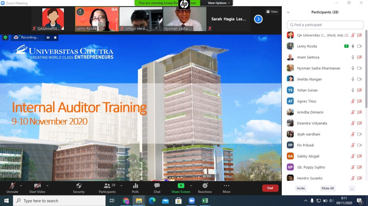 Guna Meningkatkan Kualitas Audit Mutu Internal, Universitas Ciputra Surabaya Menyelenggarakan Rangkaian Persiapan Audit