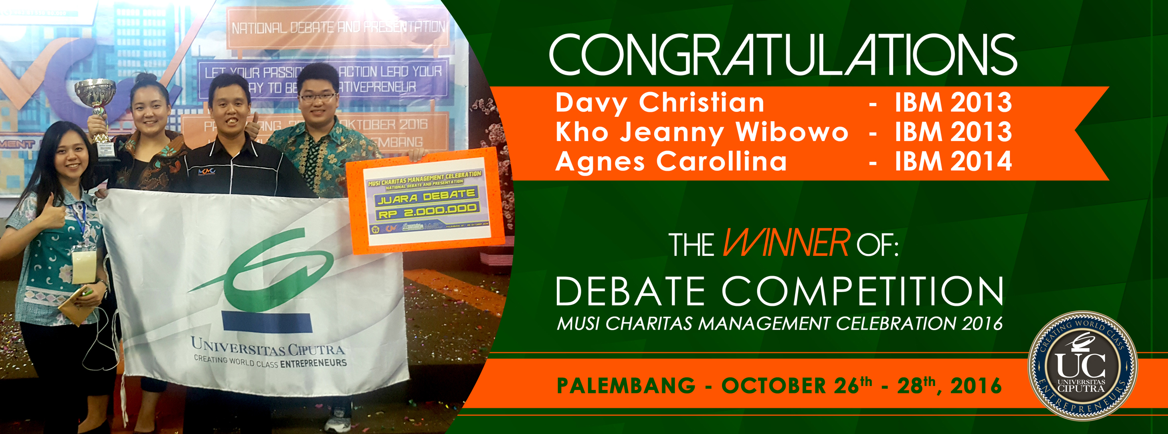 CONGRATULATION : The Winner of Debate Competition
