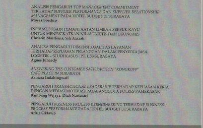 Analisis Pengaruh Top Management Commitment terhadap Supplier Performance dan Suppier Relationship Management pada Hotel Budget di Surabaya